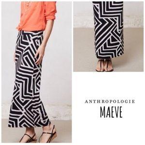 Anthropologie Maeve Black Fractured Maze Skirt